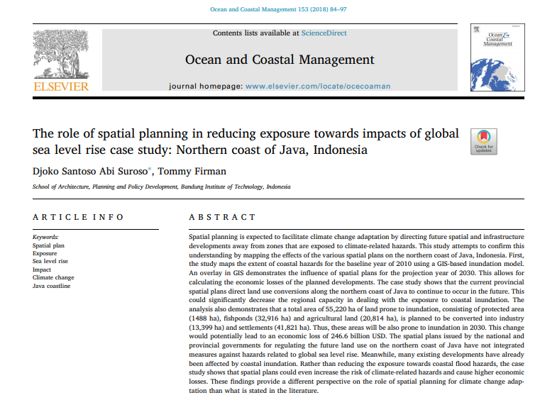 The role of spatial planning in reducing exposure towards impacts of global sea level rise case study: Northern coast of Java, Indonesia